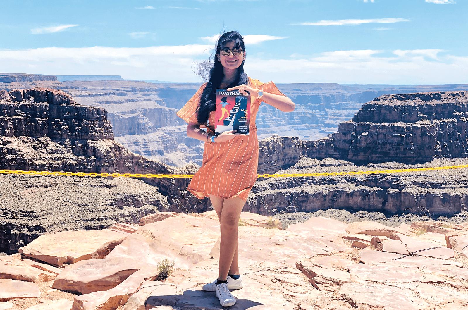 Meghashree Kar of Hyderabad, Telangana, India, stands near the edge of the Grand Canyon in Arizona.