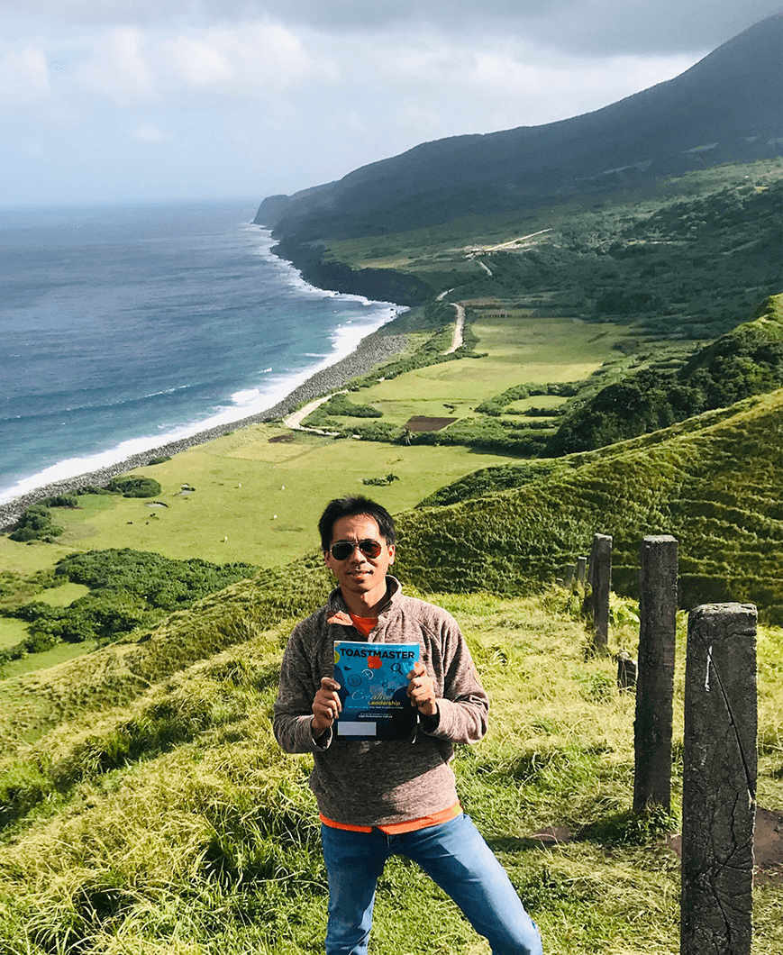 Nelzo Ereful of Cambridge, England, United Kingdom, stands on Basco, Batan Island—the second largest island among the northernmost islands of the Philippines.