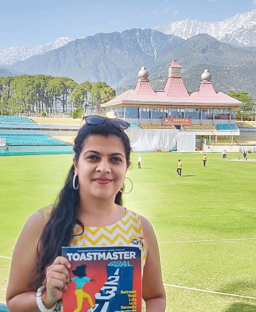 Nikita Navindgikar of Solapur, Maharashtra, India, stands at an altitude of 1,457 meters/4,780 feet above sea level at the Himachal Pradesh Cricket Association Stadium in Dharamshala, Himachel Pradesh, India.