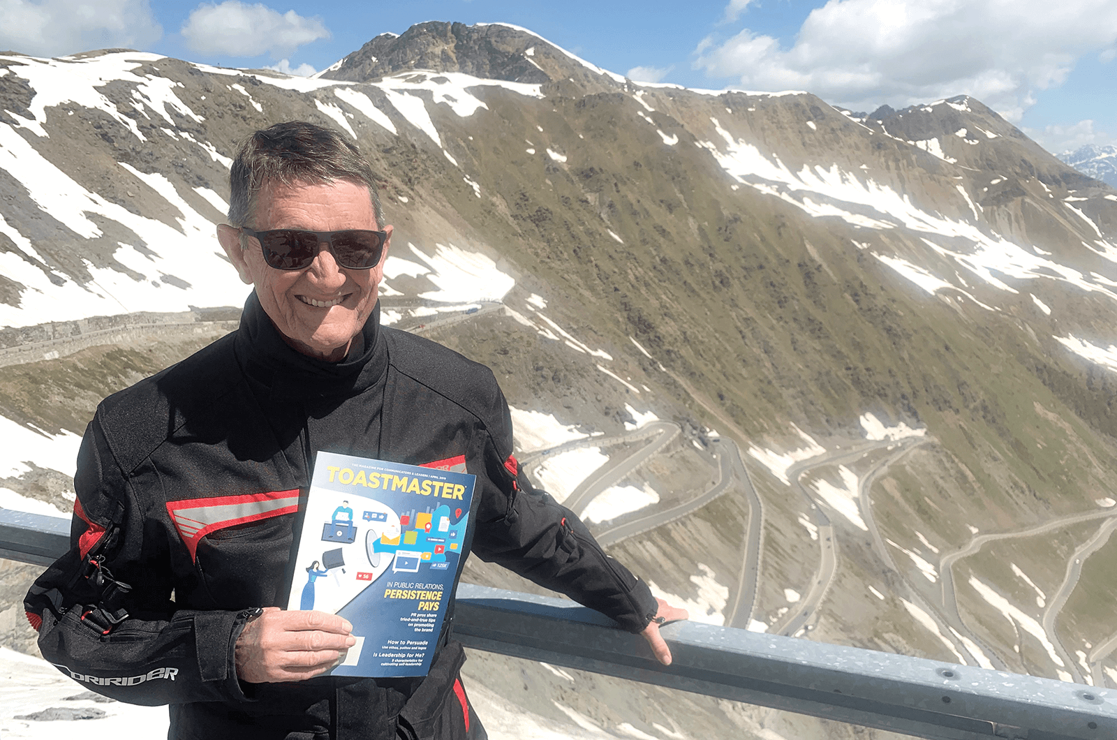 Steve Vella of Perth, Australia, pauses on Stelvio Pass in the Italian Alps after completing a portion of his motorcycle tour of Italy.