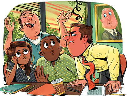 Illustration of co-workers being annoyed