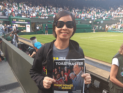 Olivia Tam of Mountain View, California, watches a tennis match in London, England, at Wimbledon, the oldest tennis tournament in the world.