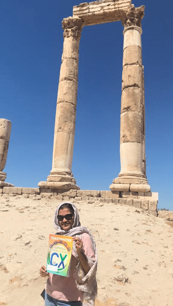 Smriti Chowdhry, of Doha, Qatar, explores the history of Amman, Jordan. The structure behind her is the remains of the Temple of Hercules, thought to be the most significant Roman structure in the city.