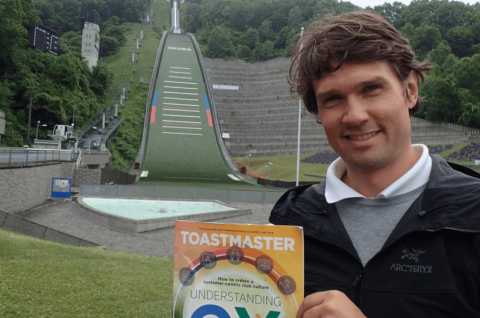 Christoph Elmer of Salzburg, Austria, visits the Okurayama Ski Jump Stadium in Sapporo, Japan. The Okurayama stadium has hosted a number of winter sports events, including the 1972 Winter Olympics and the 2007 FIS Nordic World Ski Championships.