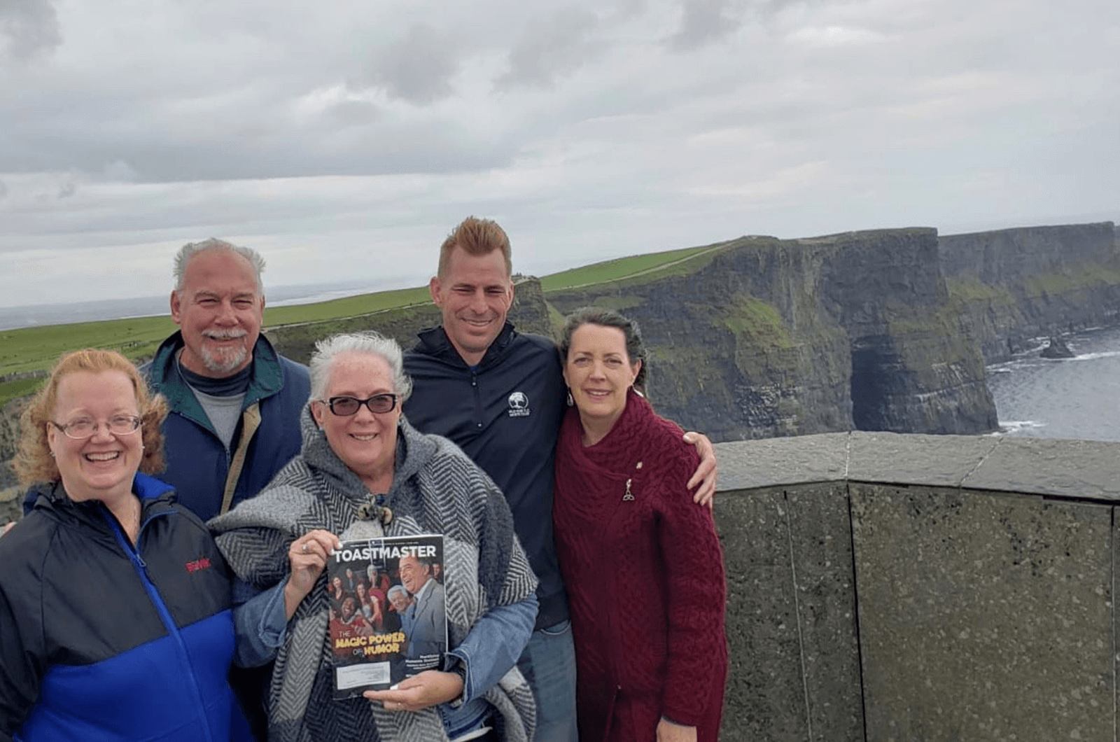 Linda Dressler, John Gormley, Kathy Nosek, Mike Gobber, and Catherine Terpstra, all of Downers Grove, Illinois, traveled to Ireland on a Realtor Association Trade Mission. Some members of Mainstreet Organization of Realtors and Mainstreet Toastmasters pose for a photo at the Cliffs of Moher.