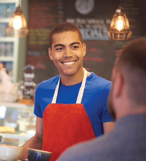 Man in apron at job