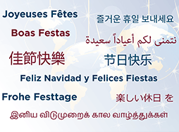 Happy Holidays translated in 10 languages