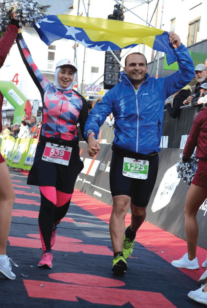 Nudžejma and her husband, Jasmin Harbinja, finish together at the Ironman 70.3 in Zell am See, Austria, during their honeymoon.
