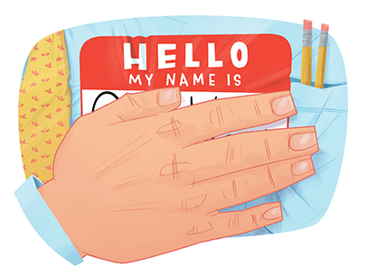 Illustration of hand covering name tag
