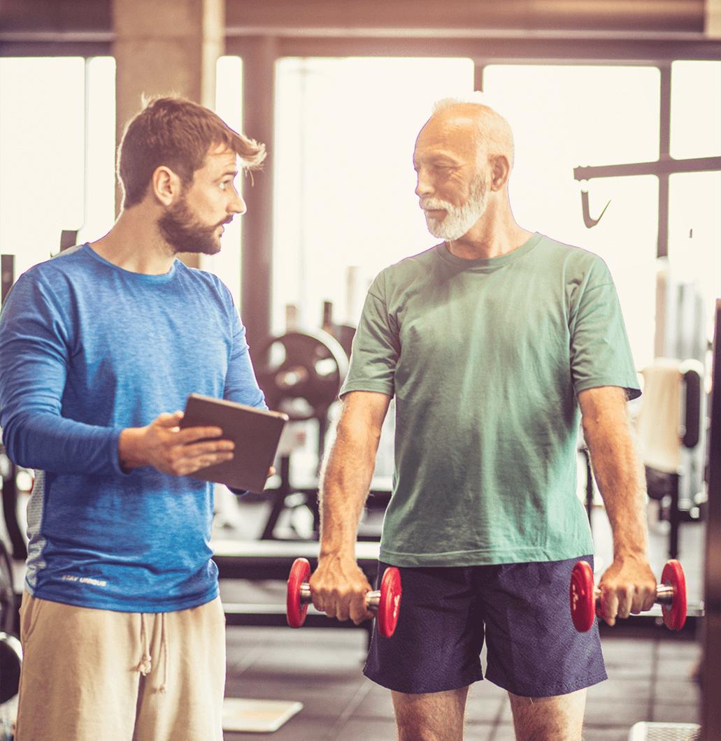 Two men at gym