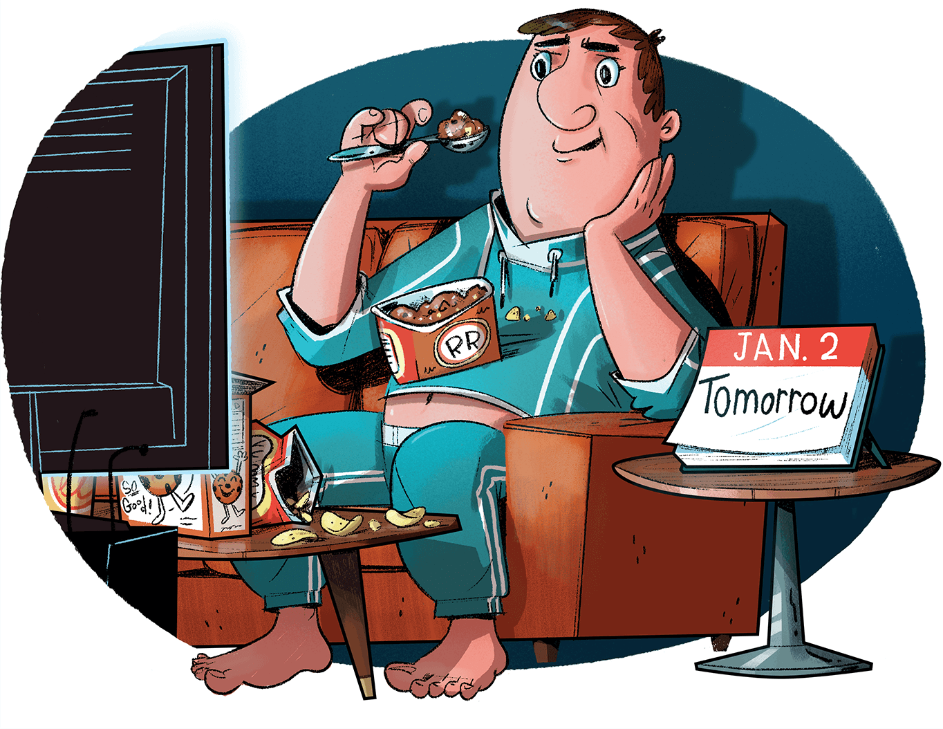Illustration of man sitting on couch eating ice cream