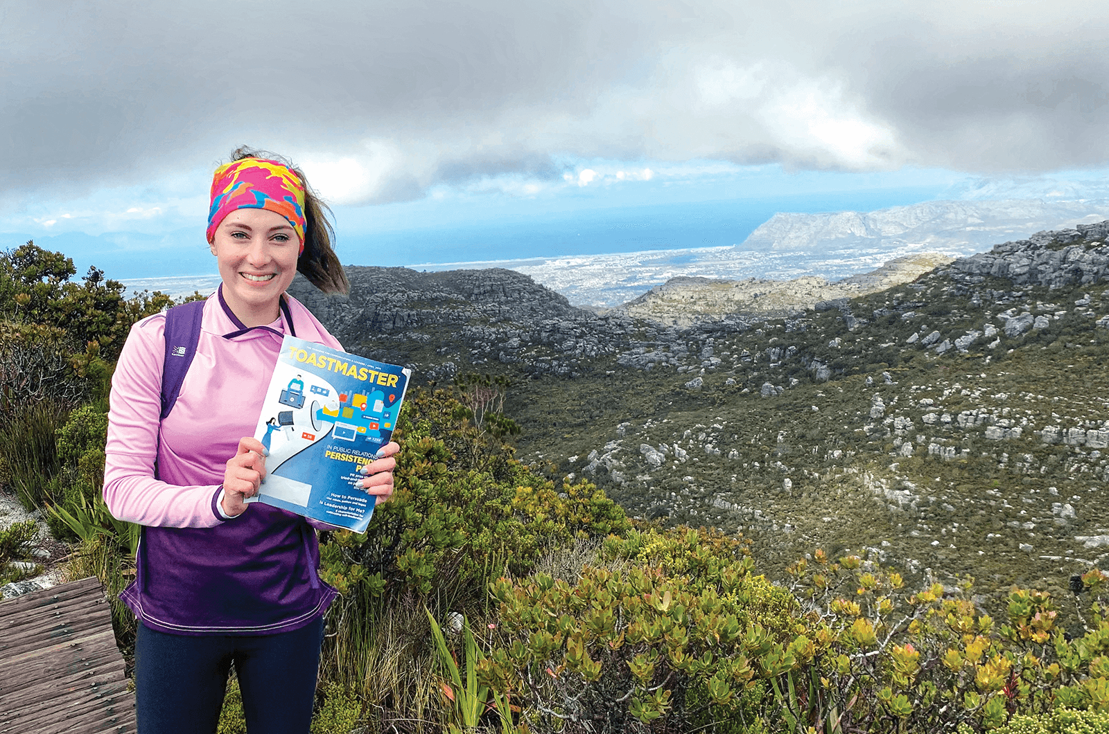 Narissa Duvenhage of Johannesburg, South Africa, hikes on Table Mountain in Cape Town, South Africa.