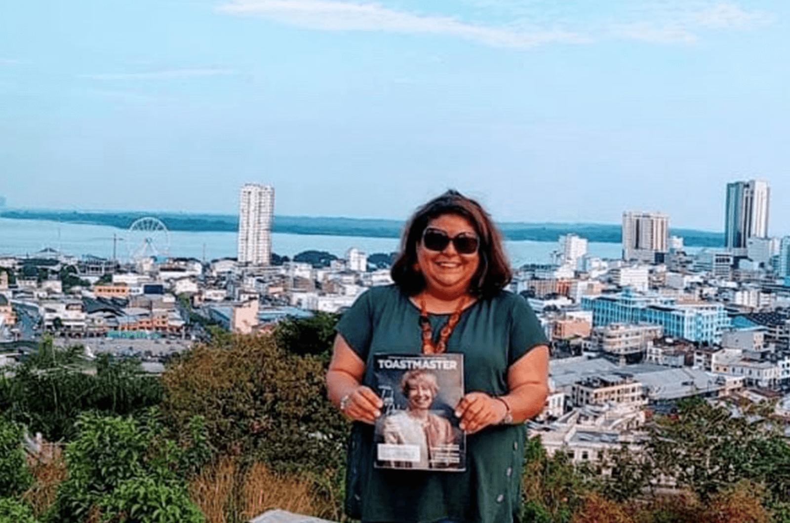 Pamela Benson of Denver, Colorado, looks over Guayaquil, Ecuador, from Cerro Del Carmen—a popular place to view the city.