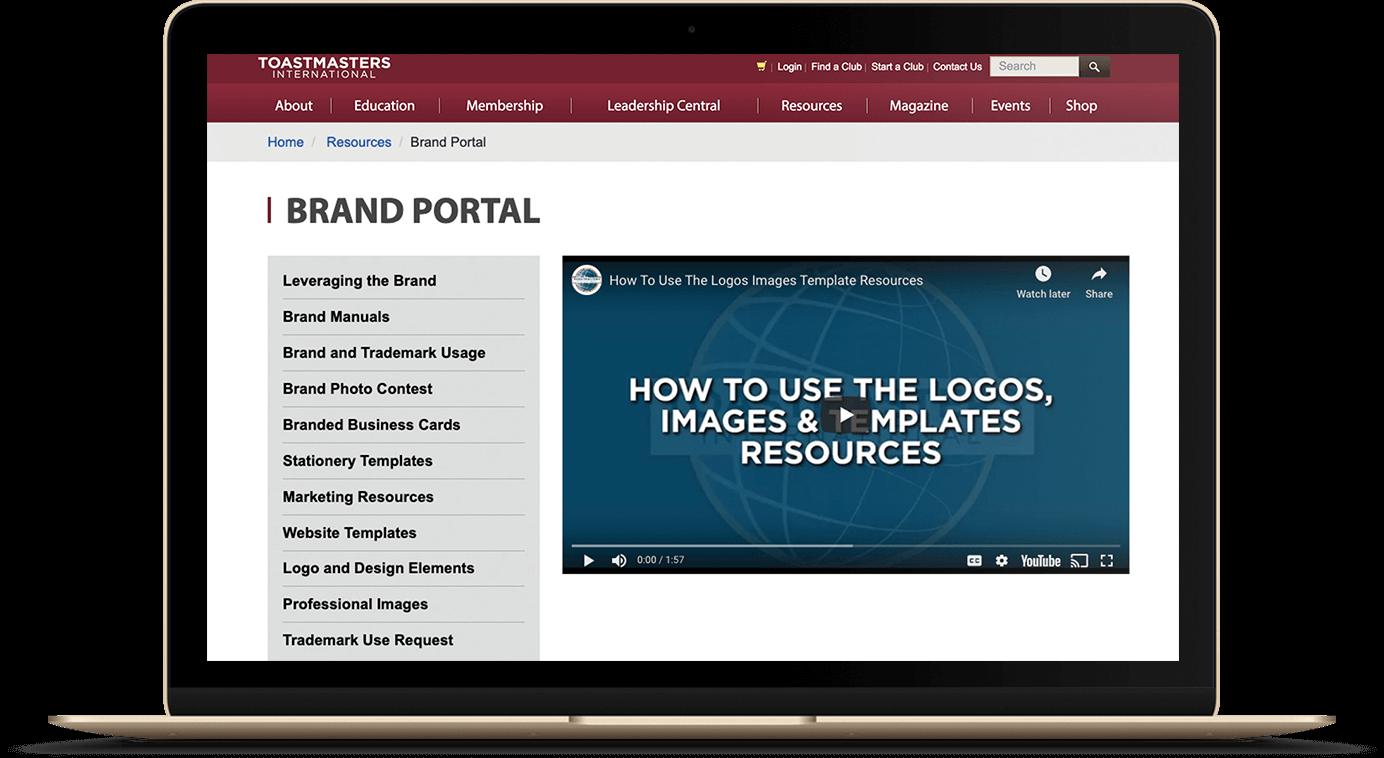 Image of Toastmasters branding webpage