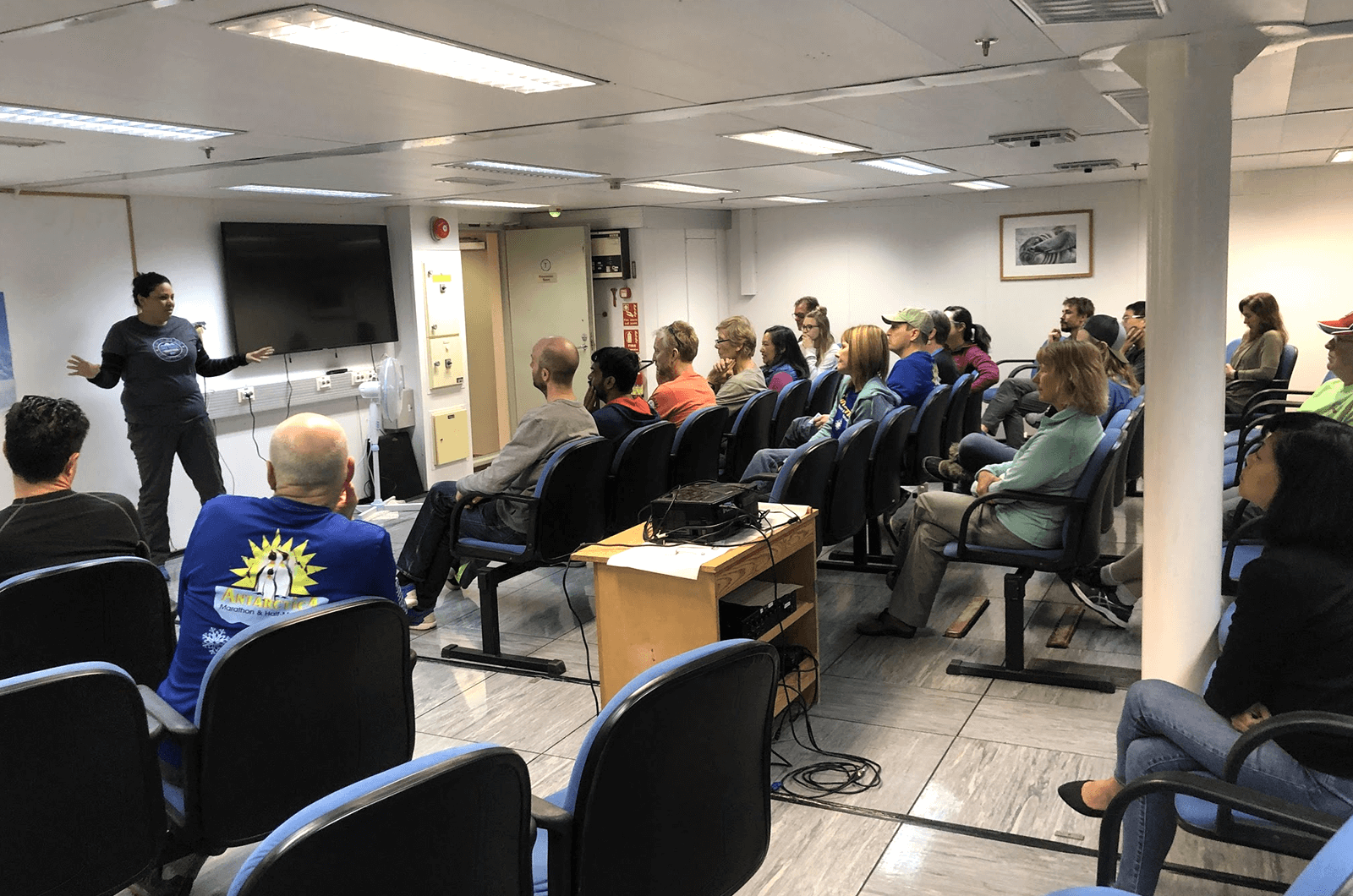 While traveling on a ship to Antarctica, Satish Shenoy set up a Toastmasters demo meeting for his shipmates, who were traveling together to run a marathon.