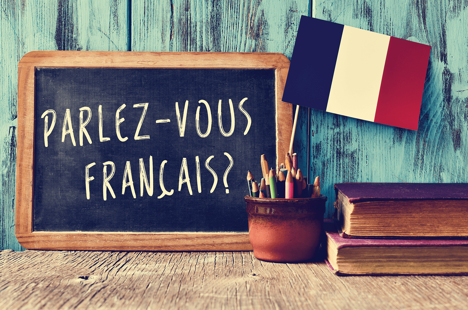 Chalkboard with French writing and flag from France
