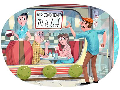 Cartoon illustration of man reading a diner sign