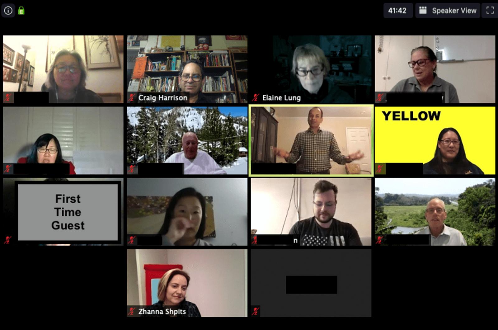 Toastmasters members meeting online on Zoom platform