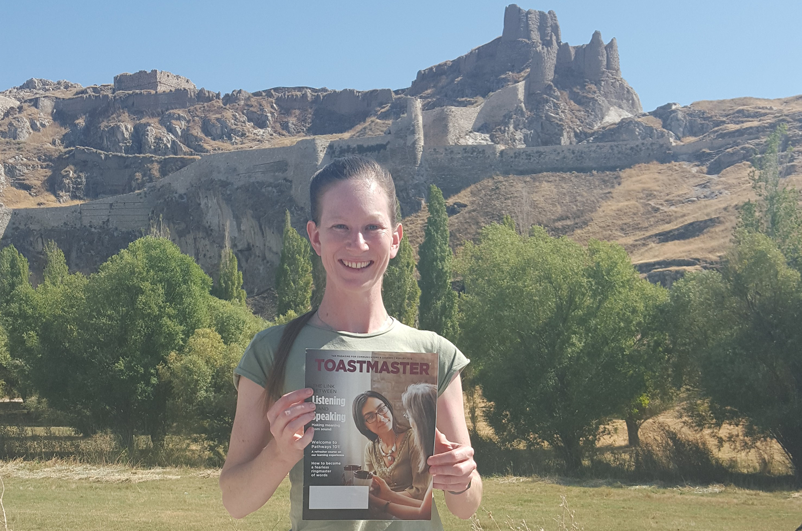 Alyssa Dunn of Stanthorpe, Queensland, Australia, visits the Van Fortress in Eastern Anatolia, Turkey. The fortress is a stone fortification built during the 9th to 7th centuries B.C.