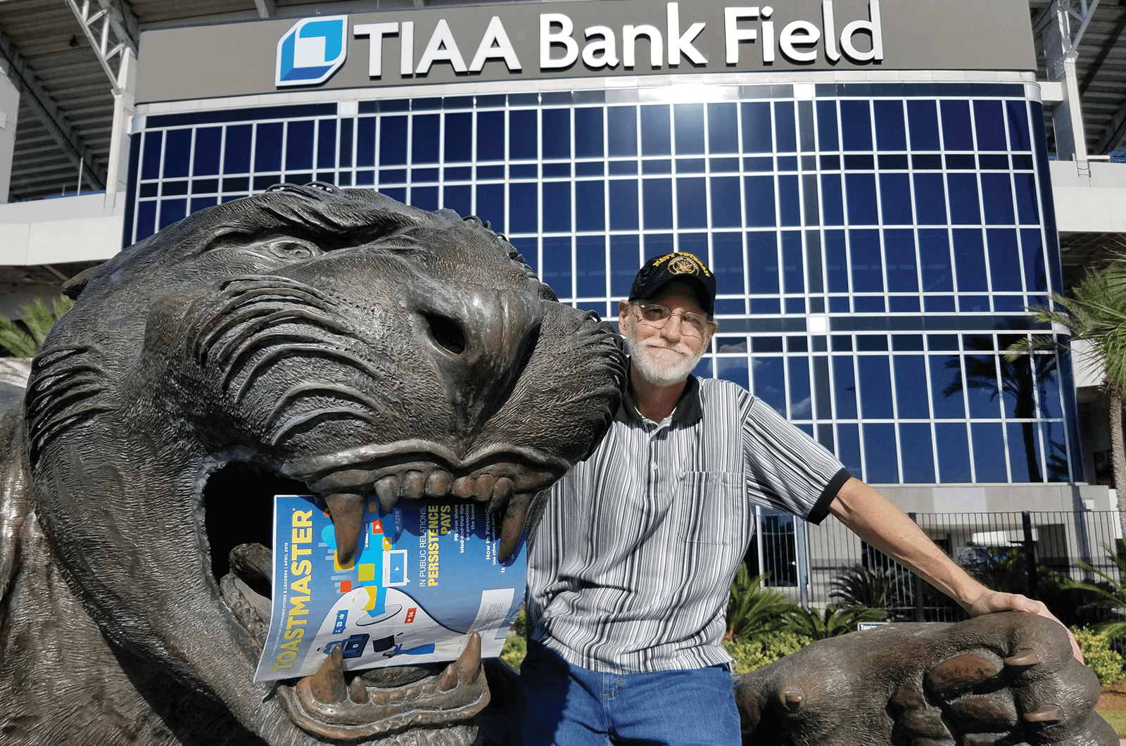 Bob Nowak of Jacksonville, Florida, poses outside of the home stadium of the National Football League's Jacksonville Jaguars.