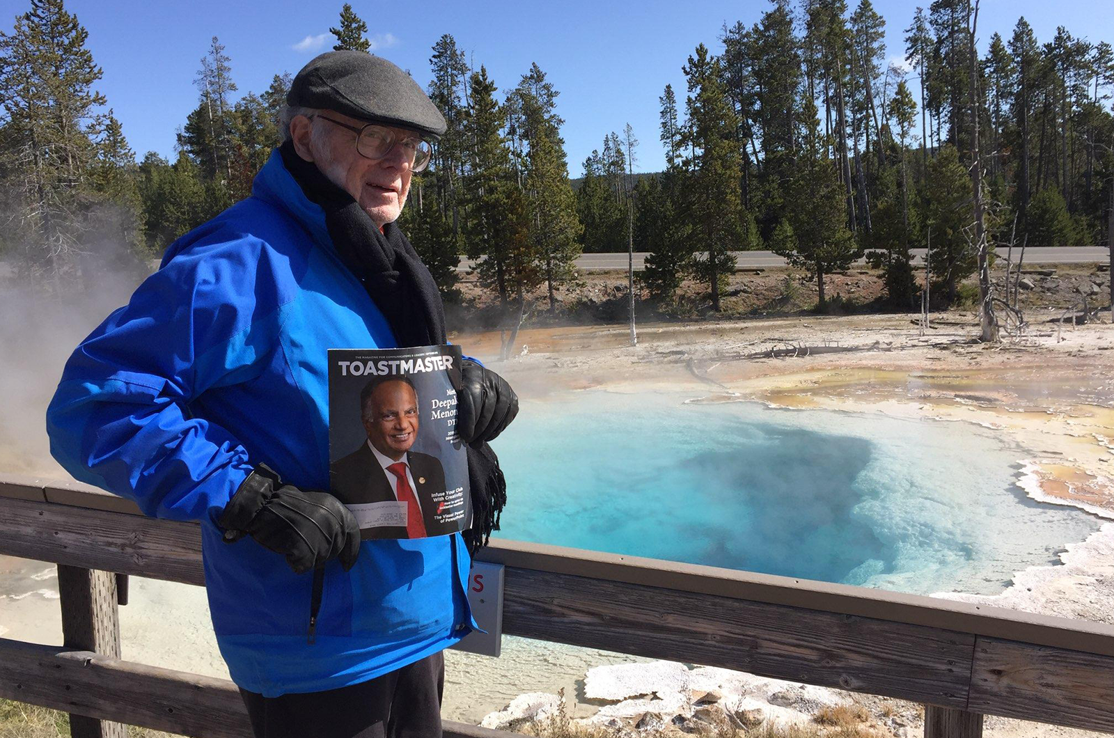Ted Merry, DTM, of Mobile, Alabama, shares the beauty of a hot spring in Wyoming's Yellowstone National Park.