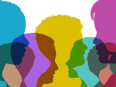 Colorful head silhouettes of young people