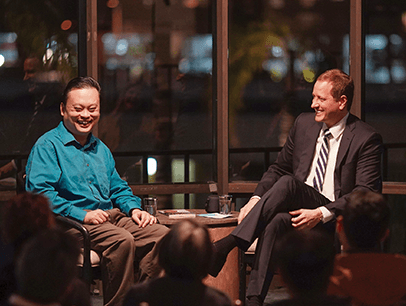 William Hung being interviewed by John Kerwin on TV set