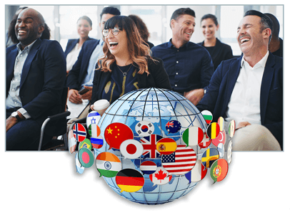 People in an audience laughing with globe image in forefront