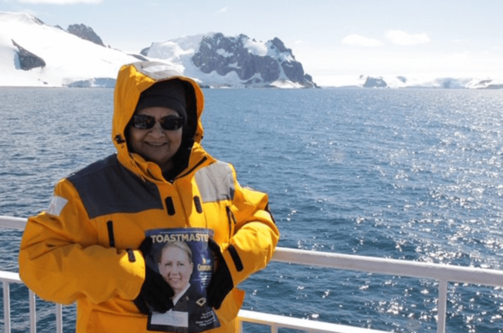 Anita Jindal of Cupertino, California, looks out at the Lemaire Channel from a ship during her trip to Antartica.