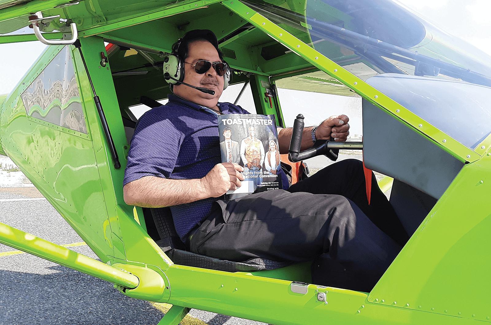 Deepak Tekchandani of Mumbai, Maharashtra, India, is ready to take flight with his magazine to Ras al Khaimah, United Arab Emirates.