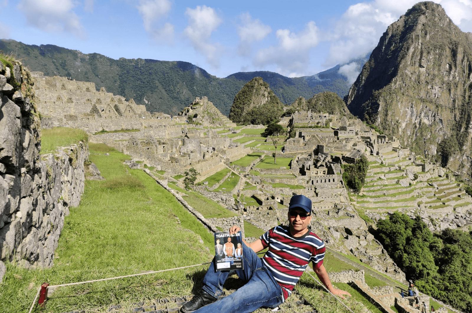Sam Sukumar of Chicago, Illinois, looks over Machu Picchu while visiting Peru.