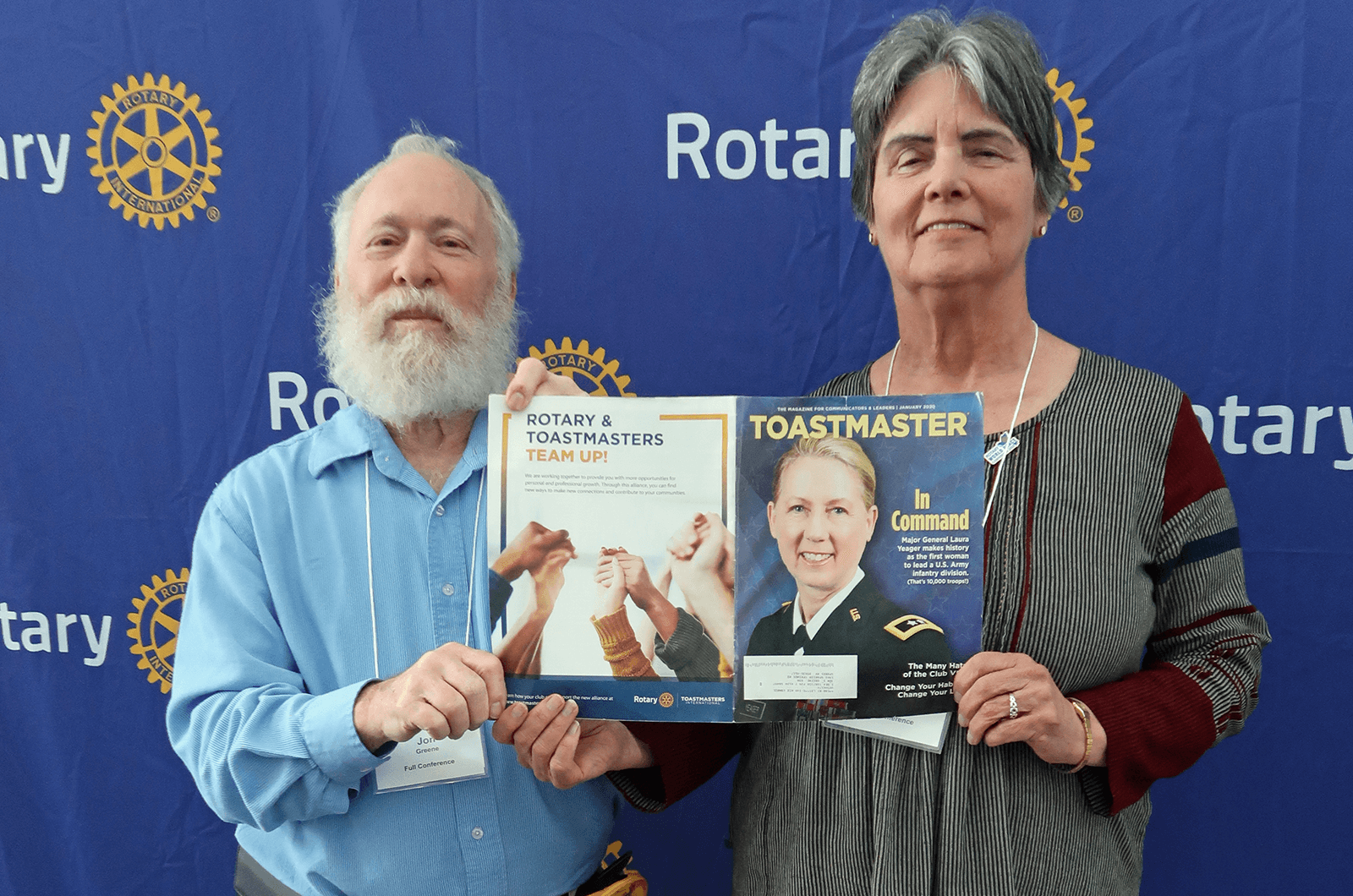 Jon S. Greene, DTM, and Martha Greene, both of Sparks, Nevada, attend the 2020 Rotary International Peace Conference in Ontario, California.