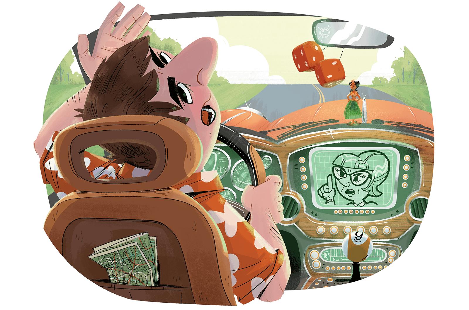 Illustration of man driving car
