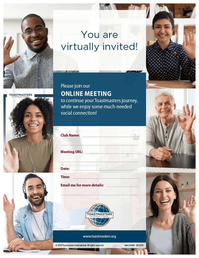 Image of flier invitation to online meetings with six people smiling
