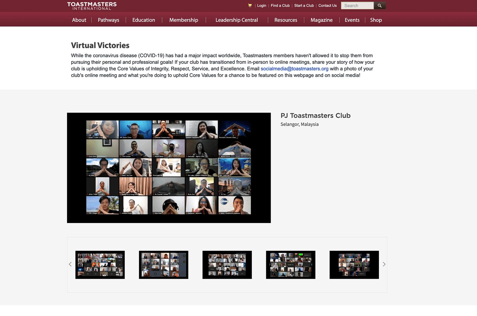 Image of Toastmasters webpage showing photos of people in Zoom meetings