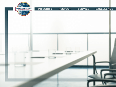 Toastmasters International branded virtual Zoom background of conference table and chairs