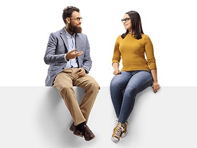 Man talking while women listens