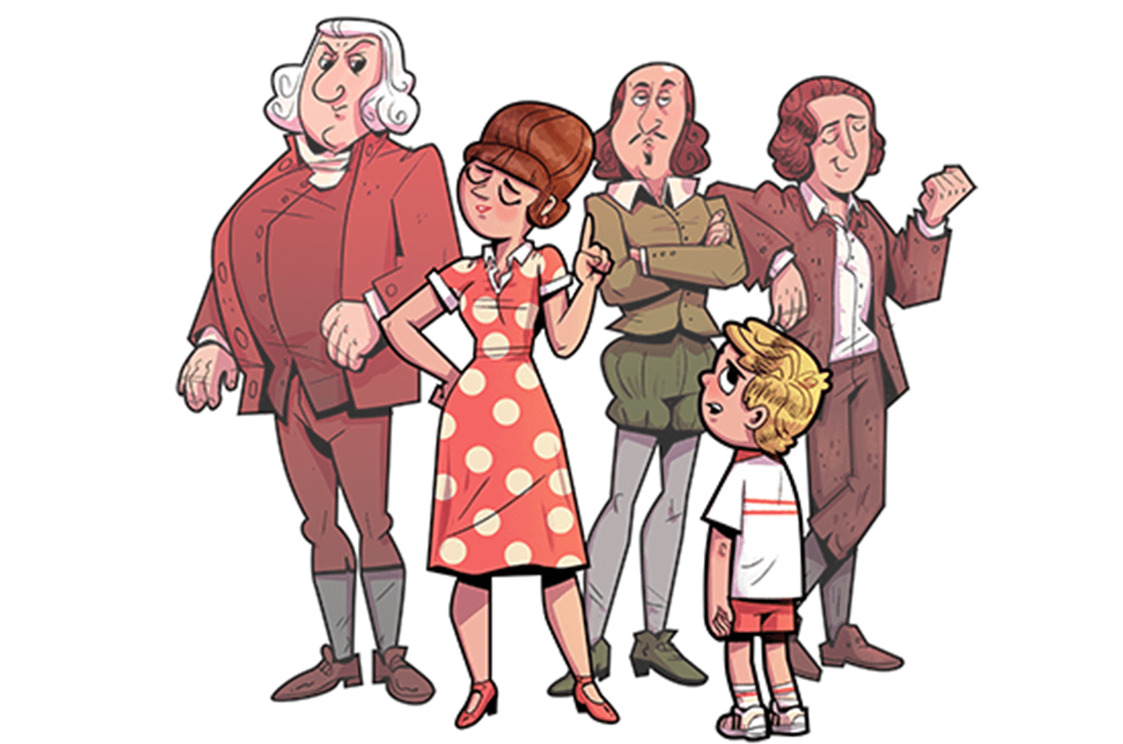 Illustration of a mother figure, son, and three historical figures