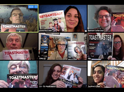 People on Zoom meeting holding up Toastmaster magazines