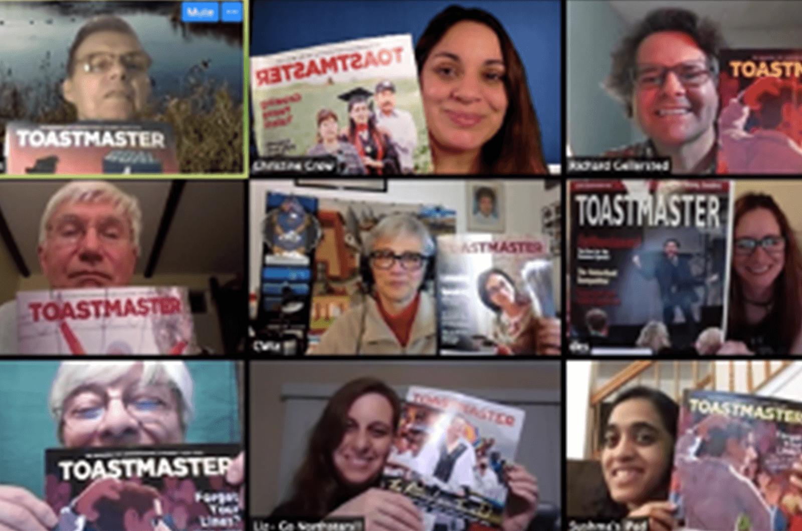 People on Zoom meeting holding up Toastmaster magazines