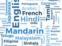 Word cloud of various languages