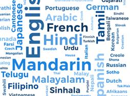 Word cloud of various languages