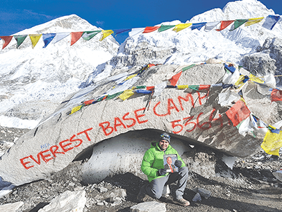 Anand Sharma of Mesaieed, Qatar, reaches the base camp of Mount Everest in Nepal—Earth's highest mountain.
