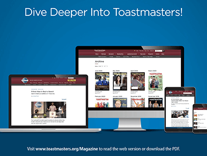Image of digital Toastmaster magazine on laptop, desktop, iPad, and mobile device