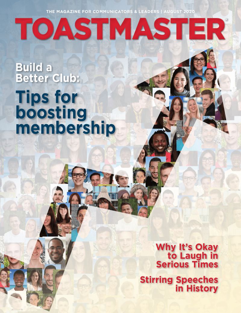 Cover of the August Toastmaster magazine