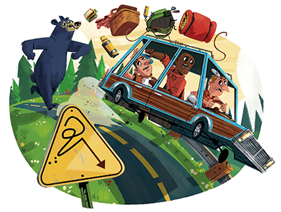 Illustration of a bear chasing car of people down the road