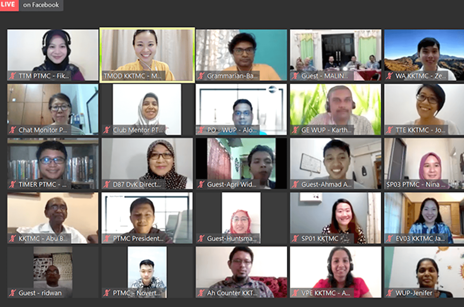 Group of Toastmasters in a Zoom meeting