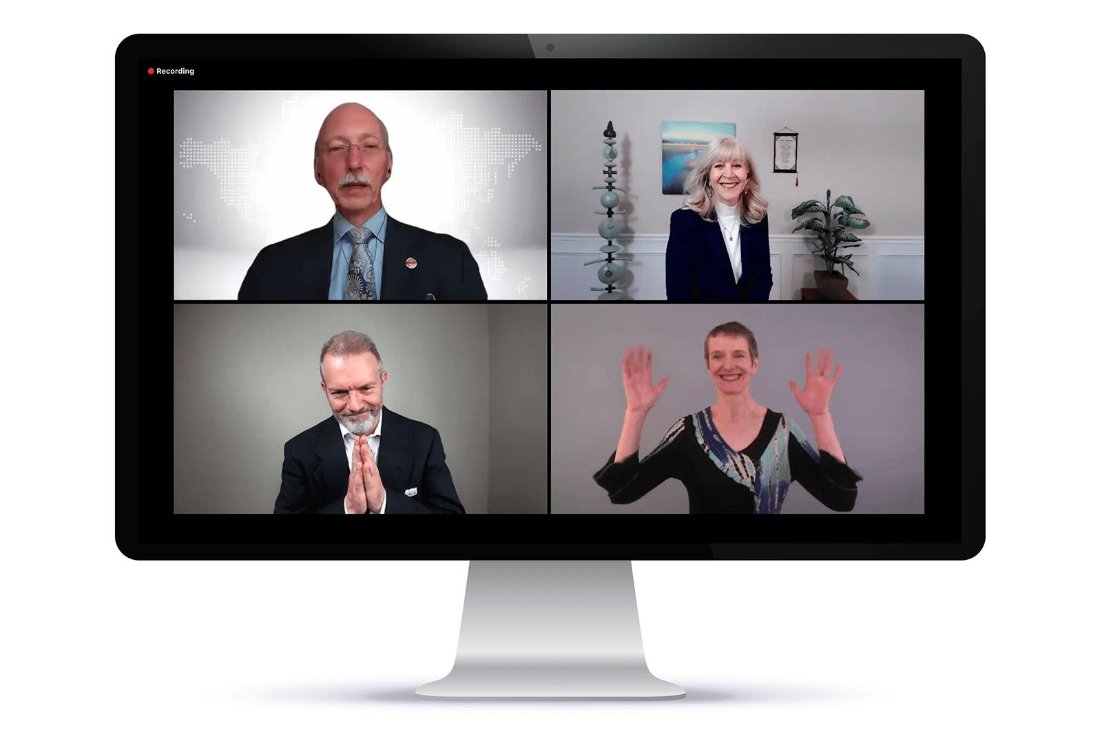 Richard E. Peck and the three winners of the 2020 Toastmasters World Championship smiling on Zoom screen