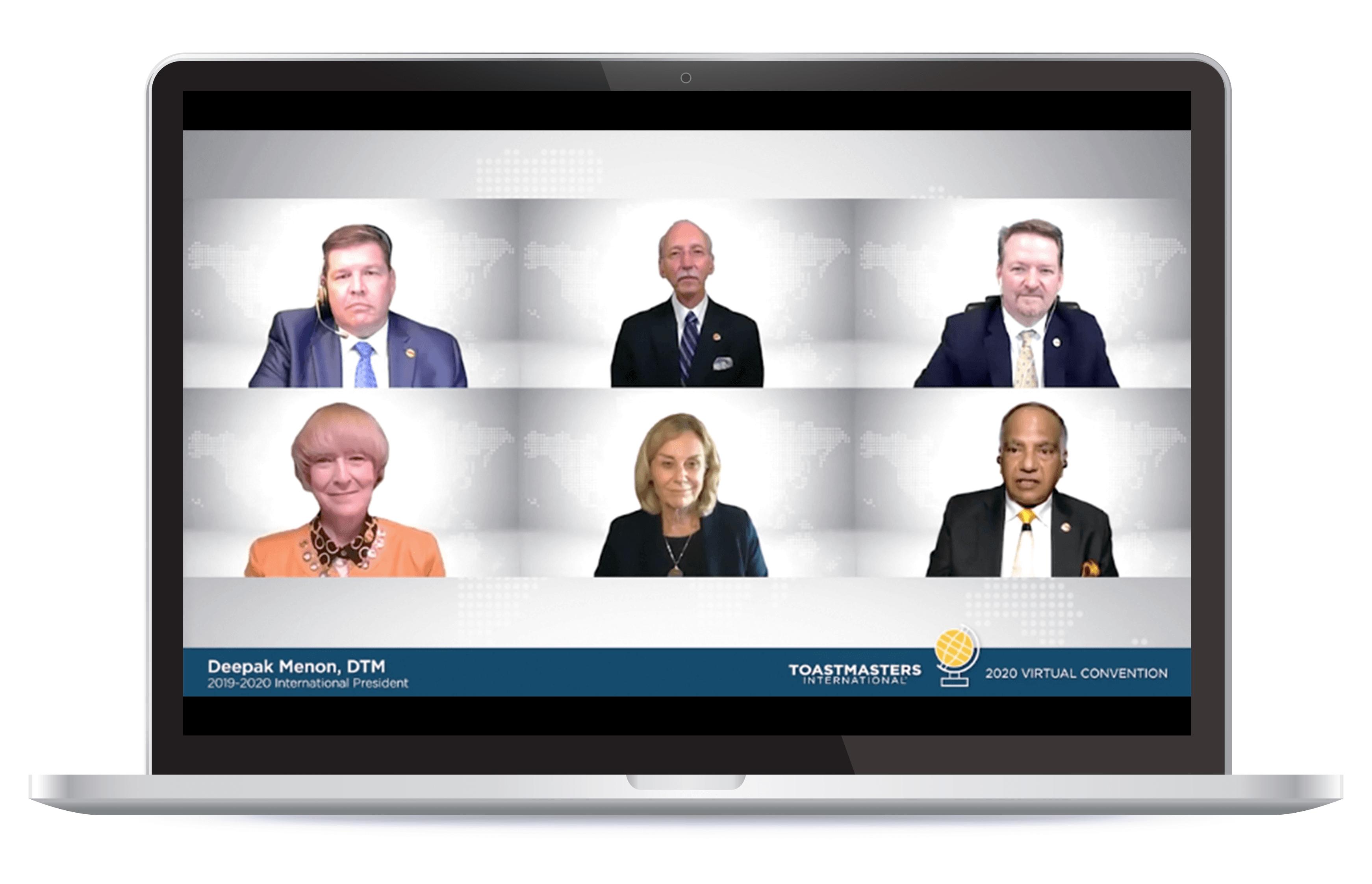 Six members of the Toastmasters International Executive Committee meeting on Zoom