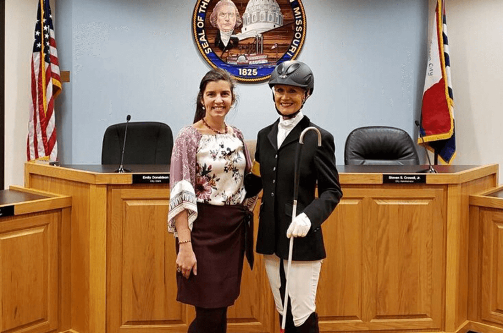 Deborah poses with Mayor Carrie Tergin of Jefferson City, Missouri. Mayor Tergin endorsed Deborah thanks to her work in the community through her company, Vision Beyond Eyesight.